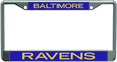 Baltimore Ravens Metal License Plate Frame with Glitter Design