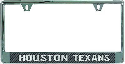 Houston Texans Metal License Plate Frame with Carbon Fiber Design
