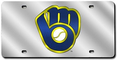 MLB Milwaukee Brewers Mirrored Laser License Plate - Silver