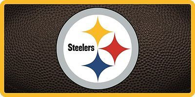 NFL Pittsburgh Steelers Inlaid Acrylic License Plate with Team Ball Design