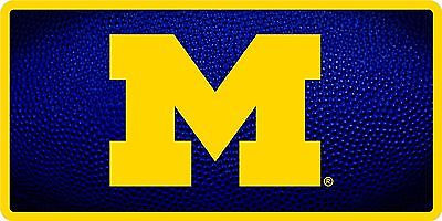 Michigan Wolverines Inlaid Acrylic License Plate with Team Ball Design