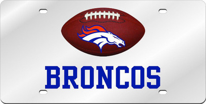 Denver Broncos Inlaid Acrylic License Plate with Domed Logo