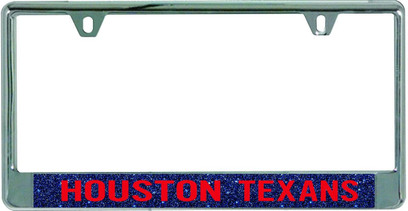 Houston Texans Metal License Plate Frame with Glitter Design