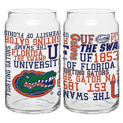 NCAA Florida Gators 16-ounce Spirit Glass Can - 2 pack