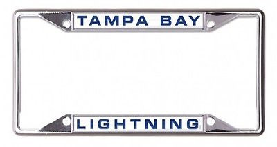 NHL Tampa Bay Lightning Metal License Plate Frame with Lettering on White