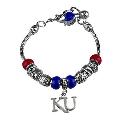 "Kansas Jayhawks 7"" Deluxe Charm Bracelet with 2"" extension"