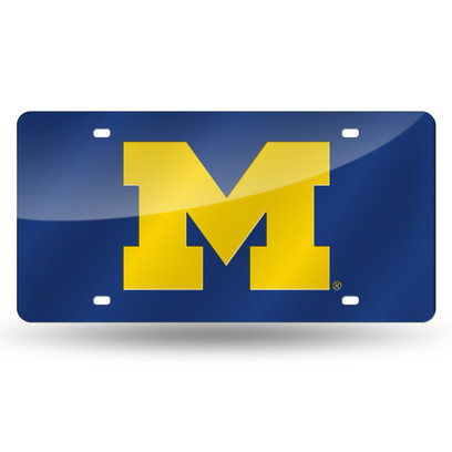 Michigan Wolverines Laser Cut License Plate - Blue