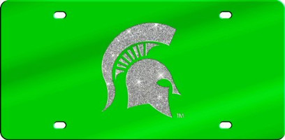 Michigan State Spartans Inlaid Mirror Acrylic License Plate with Glitter Design