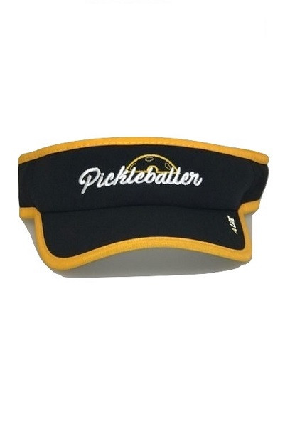 "Moisture Wicking All Sport Active ""Pickleballer"" Visor - Black/Gold"