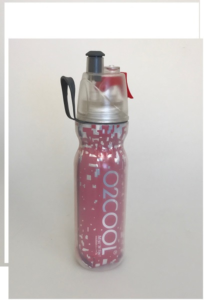 O2Cool Mist 'N Sip Arctic Squeeze Double Walled 20 oz Water Bottle - Metallic Red