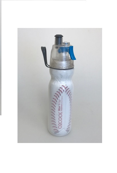 O2Cool Mist 'N Sip Arctic Squeeze Double Walled 20 oz Water Bottle - Baseball