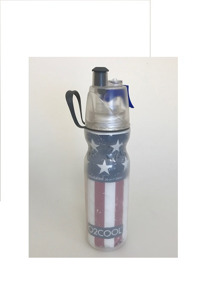 O2Cool Mist 'N Sip Arctic Squeeze Double Walled 20 oz Water Bottle - Flag
