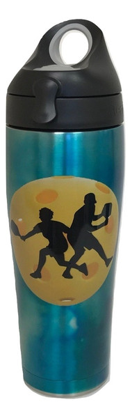 Tervis Stainless Steel 24 oz Insulated Water Bottle w/ Black Lid - Pickleball Silhouette