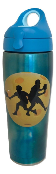 Tervis Stainless Steel 24 oz Insulated Water Bottle w/ Blue Lid - Pickleball Silhouette - SPECIAL SALE