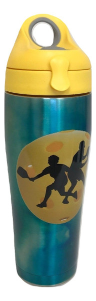 Tervis Stainless Steel 24 oz Insulated Water Bottle w/ Yellow Lid - Pickleball Silhouette - SPECIAL SALE