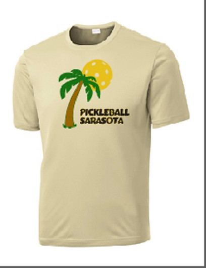 Mens Competitor, Moisture Wicking Tee - Pickleball Sarasota, Vegas Gold, Small - CLEARANCE
