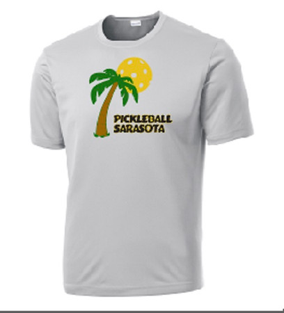 Mens Competitor, Moisture Wicking Tee - Pickleball Sarasota, Silver, Small - CLEARANCE