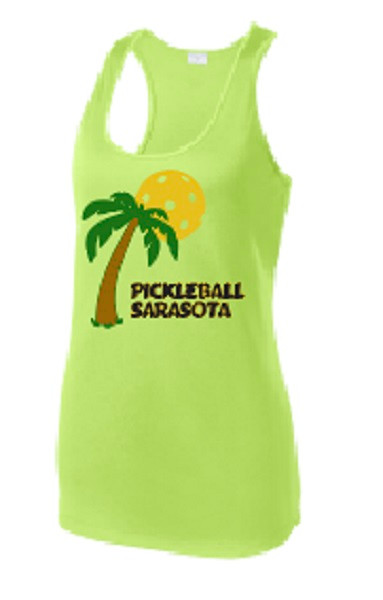 Ladies Racerback Tank - Pickleball Sarasota, Lime Shock, Medium - CLEARANCE