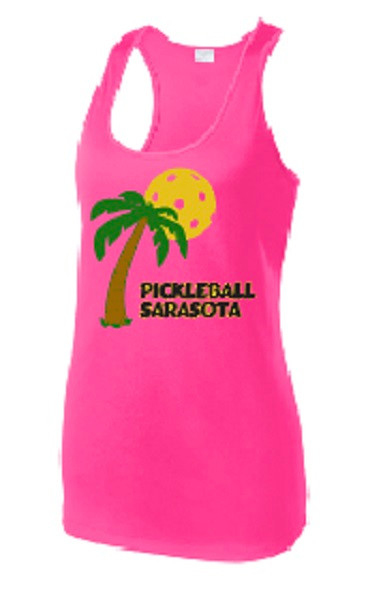 Ladies Racerback Tank - Pickleball Sarasota, Hot Pink, Small - CLEARANCE