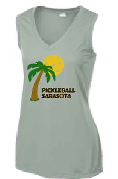 Ladies V Neck, Sleeveless, Moisture Wicking Tee - Pickleball Sarasota, Silver, Large - CLEARANCE