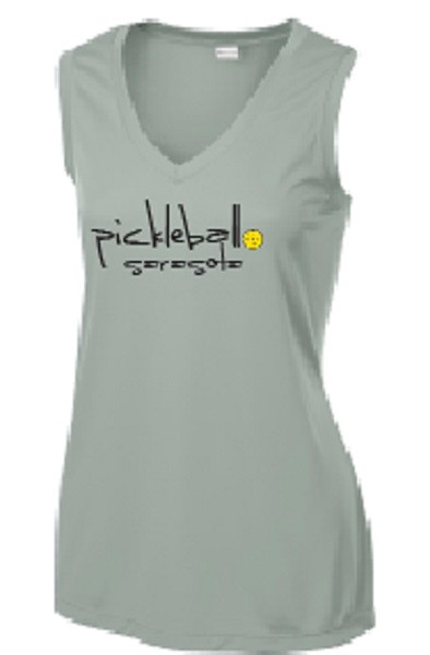 Ladies V Neck, Sleeveless, Moisture Wicking Tee - Pickleball Sarasota Text, Silver, Large - CLEARANCE