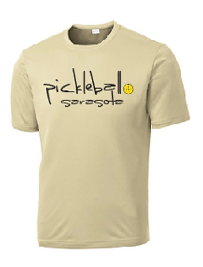 Mens Competitor, Moisture Wicking Tee - Pickleball Sarasota Text, Vegas Gold, Small - CLEARANCE