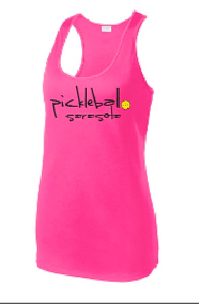 Ladies Racerback Tank - Pickleball Sarasota Text, Hot Pink, Extra Large - CLEARANCE