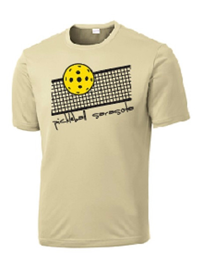 Mens Competitor, Moisture Wicking Tee - Pickleball Sarasota Net, Vegas Gold, Extra Large - CLEARANCE