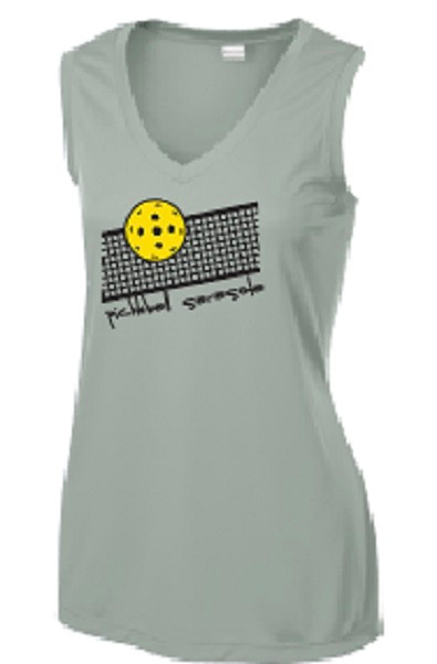 Ladies V Neck, Sleeveless, Moisture Wicking Tee - Pickleball Sarasota Net, Silver, Extra Large - CLEARANCE