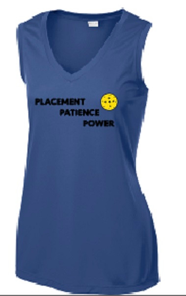 Ladies V Neck, Sleeveless, Moisture Wicking Tee - Placement, Patience, Power, Navy, Large - CLEARANCE
