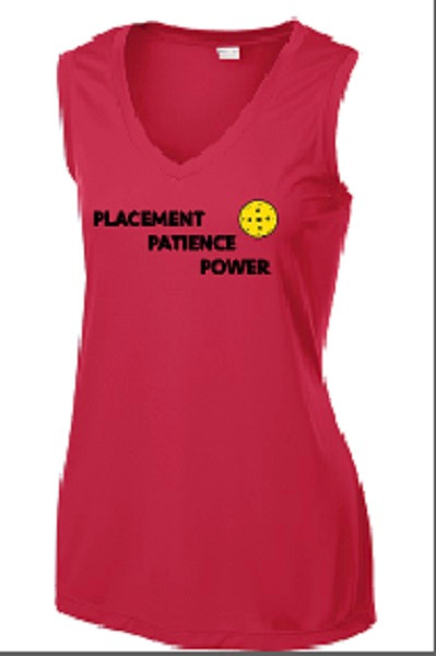 Ladies V Neck, Sleeveless, Moisture Wicking Tee - Placement, Patience, Power, Red, Small - CLEARANCE