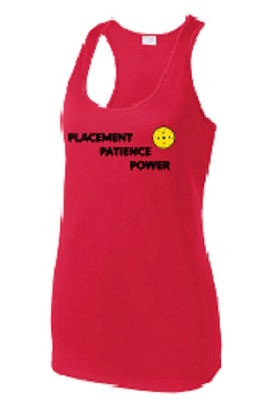 Ladies Racerback Tank - Placement, Patience, Power, Red, Large - CLEARANCE
