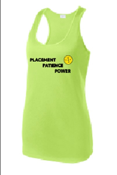 Ladies Racerback Tank - Placement, Patience, Power, Lime Shock, Small - CLEARANCE