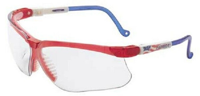 F - Genesis® Safety Glasses Red/White/Blue Frame And Clear Anti-Fog Lens