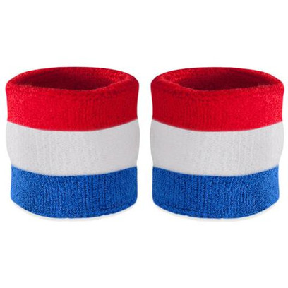 Wrist Sweatband Pairs - Red, White, and Blue (2 Wristbands)