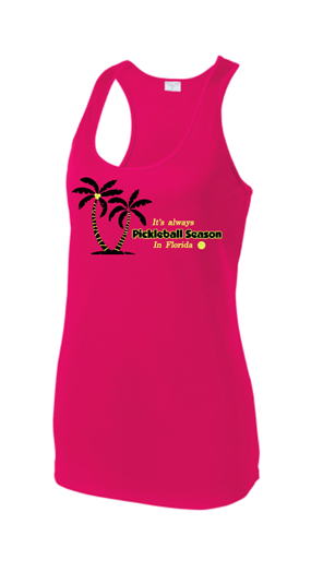Ladies Racerback Tank - Season in Florida, Raspberry, Small