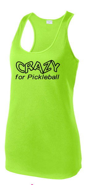 Ladies Racerback Tank - Crazy, Lime Shock