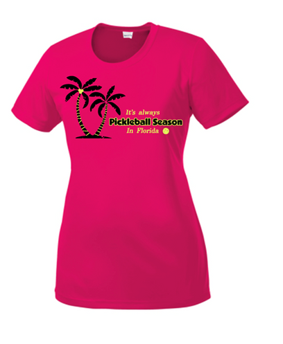 Ladies Competitor, Moisture Wicking Tee - Season in Florida, Raspberry, Extra Large