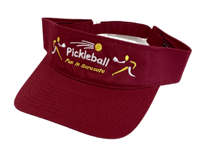 """Pickleball - Fun in Sarasota"" Visor - Red"