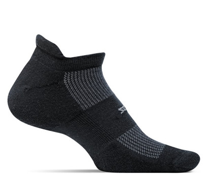 Feetures High Performance Cushion No Show Tab Socks - Medium Black