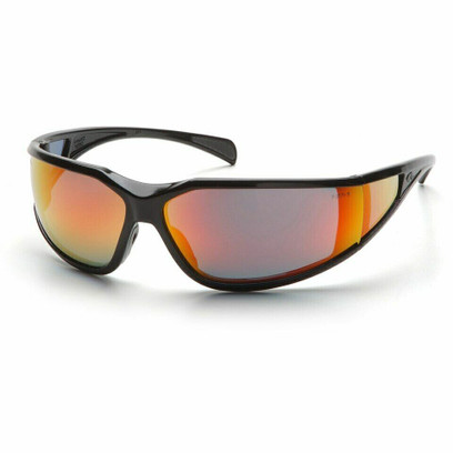 B-4 - Pyramex Exeter Black Safety Glasses, Sky Red Anti-Fog Mirror Lens