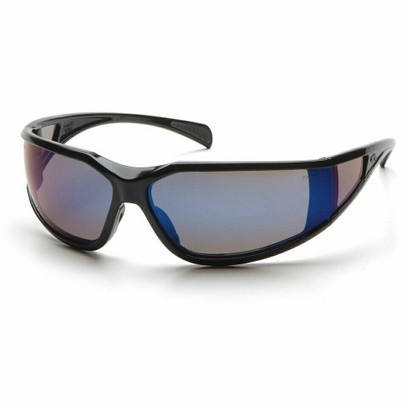 B-1 - Pyramex Exeter Glossy Black Frame Safety Glasses w/ Blue Lens