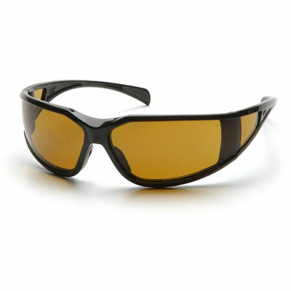 B-2 - Pyramex Exeter Glossy Black Frame Safety Glasses w/ Amber Lens