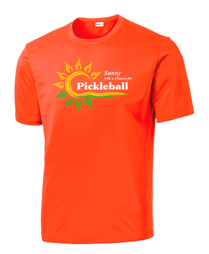 Men's Competitor, Moisture Wicking Tee - Sunny w/a Chance for Pickleball, Neon Orange