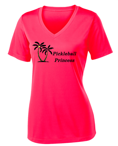 Ladies V-Neck Competitor, Moisture Wicking Tee - Pickleball Princess, Hot Coral