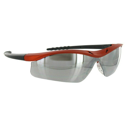 B-14 - Crews Dallas Safety Glasses w/ Orange Frame & Silver Mirror Lens