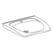Pressalit CURVE II  R2053 ergonomic wash basin. 600 x 487 mm. Incl. drain fitting, without overflow, with tap hole