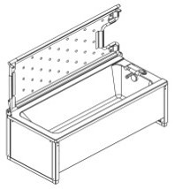 Ropox 40-14227 shower bed tiltable for 170cm bath - for mixer tap on RHS (must be ordered with bath)