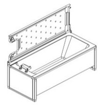 Ropox 40-14238 shower bed tiltable for 180cm bath - for mixer tap on LHS (must be ordered with bath)