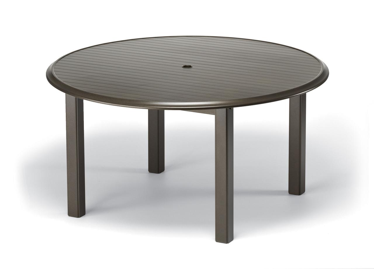 Telescope Casual Aluminum Slat 56 Round Dining Table Seaside Patio Furniture